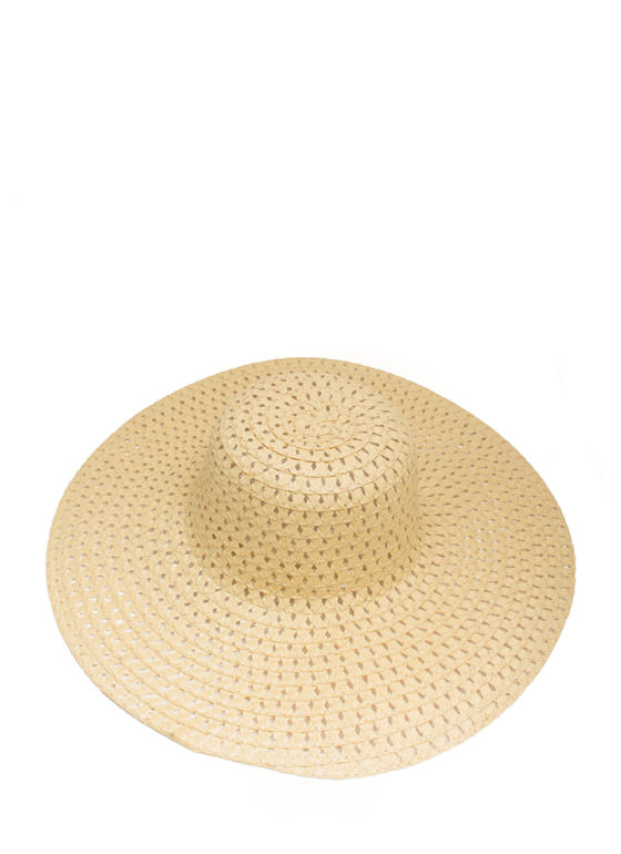 Perforated Floppy Brim Sunhat BEIGE