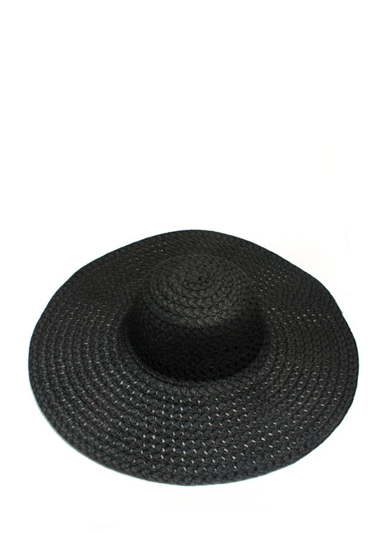 Perforated Floppy Brim Sunhat BLACK