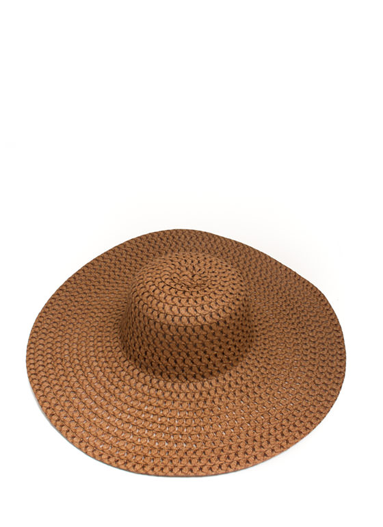 Perforated Floppy Brim Sunhat BROWN