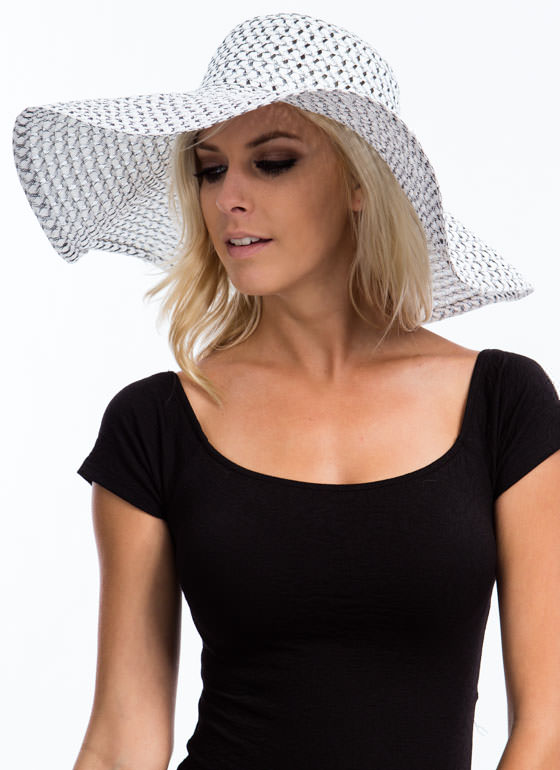 Perforated Floppy Brim Sunhat WHITEBLACK