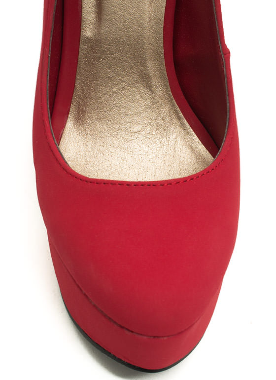 Up To Bar Faux Nubuck Heels DARKRED
