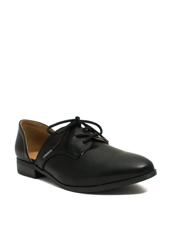 Cut Away Oxford Flats BLACK