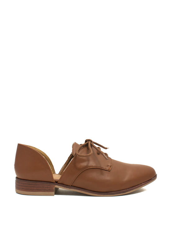 Cut Away Oxford Flats CAMEL