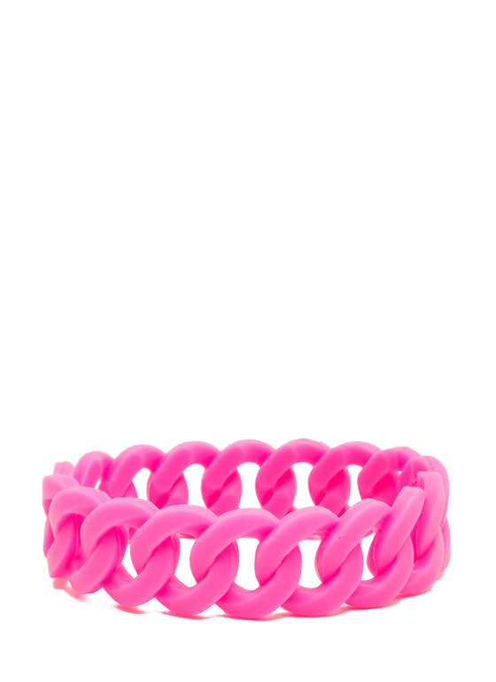 Stretchy Jelly Cable Chain Bracelet PINK