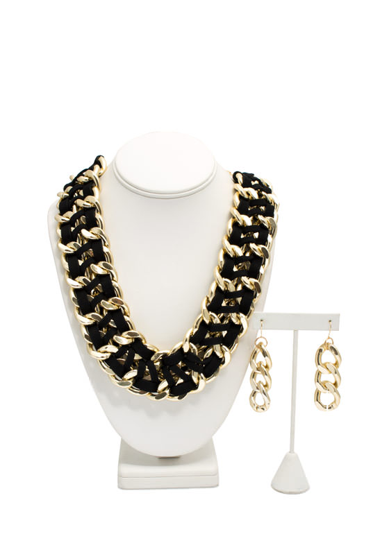 Double Faux Suede 'N Chain Necklace Set GOLDBLACK