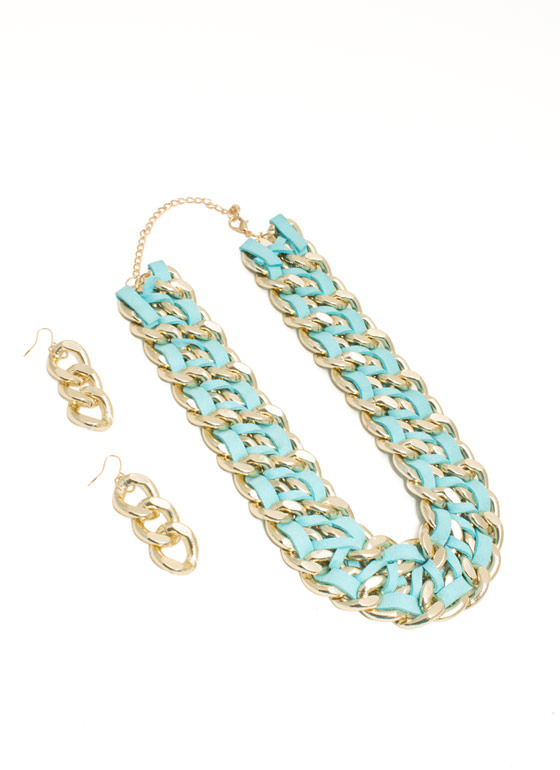 Double Faux Suede 'N Chain Necklace Set GOLDBLUE
