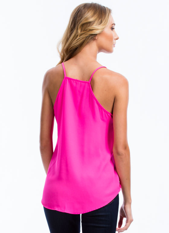 All The Right Moves Cami Surplice Tank FUCHSIA