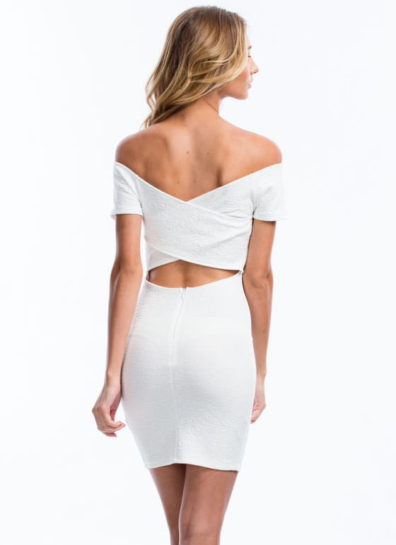 No Crossing Back Off-The-Shoulder Dress WHITE