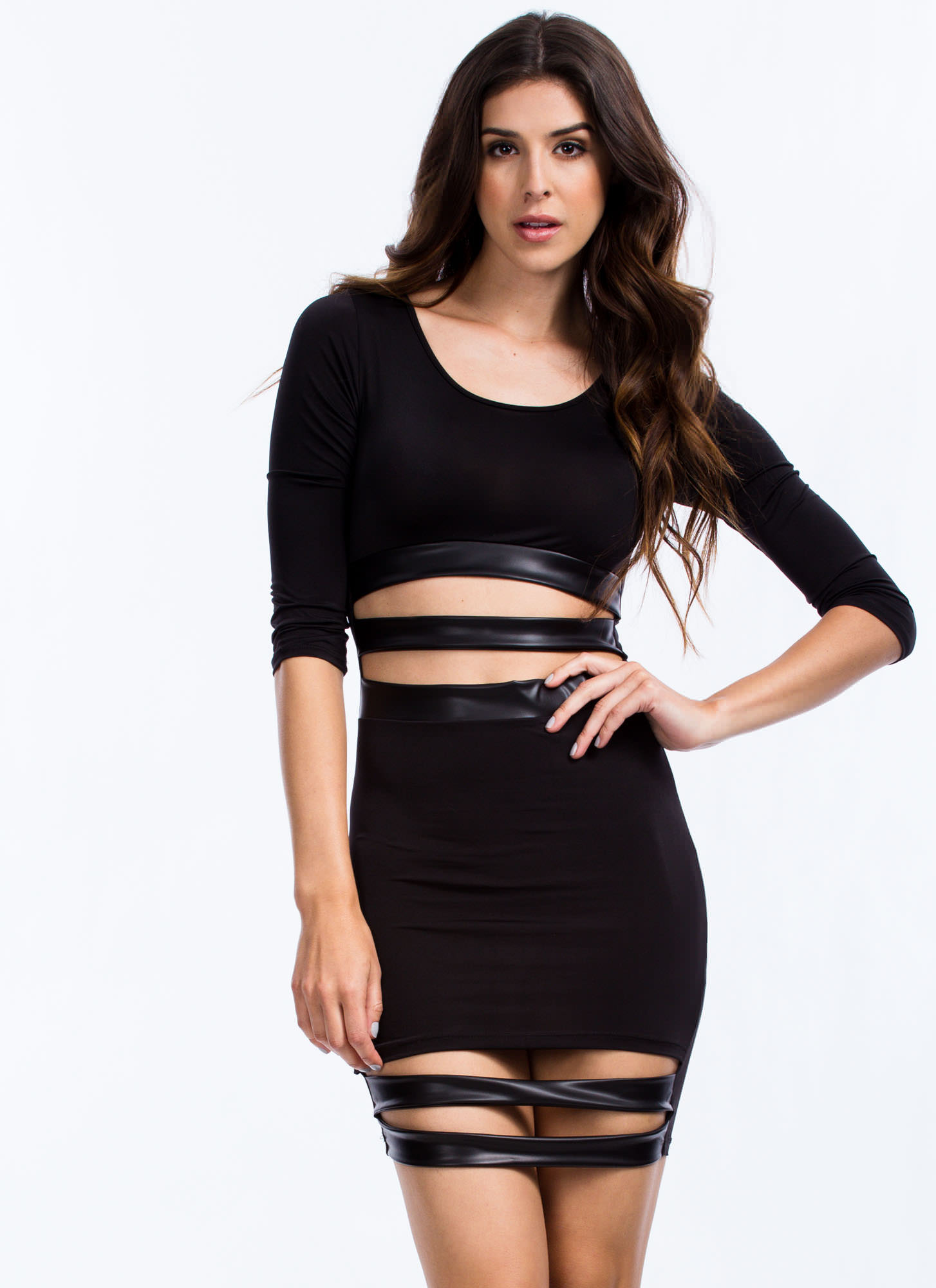 Sneak Peek Bodycon Dress BLACK