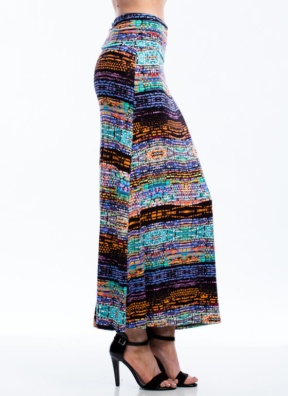 Pebble Pusher Abstract Tribal Skirt BLUE
