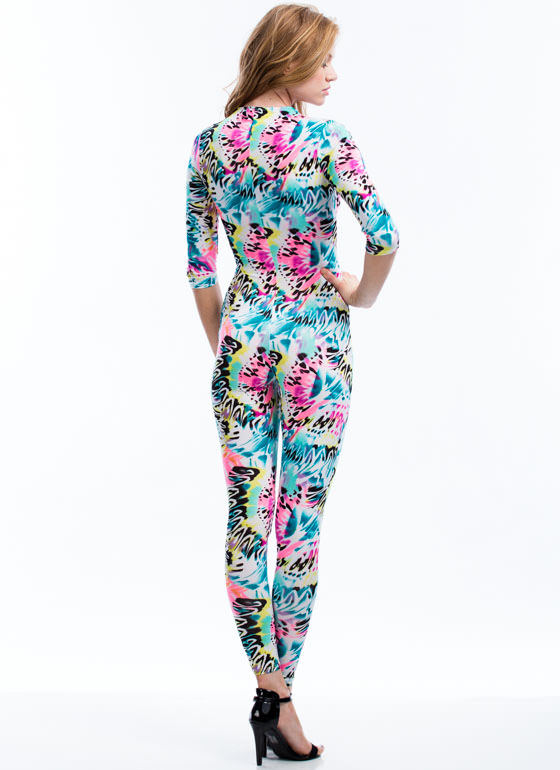 Body Sprayed Graffiti Print Jumpsuit WHITE