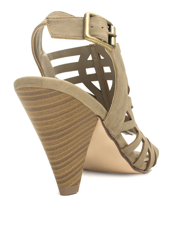 Laser Cut-Out Tapered Heels TAUPE