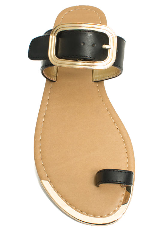 Single Life Buckled Sandals BLACK