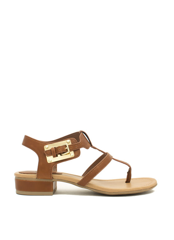 Slim Caged Plate Sandals TAN