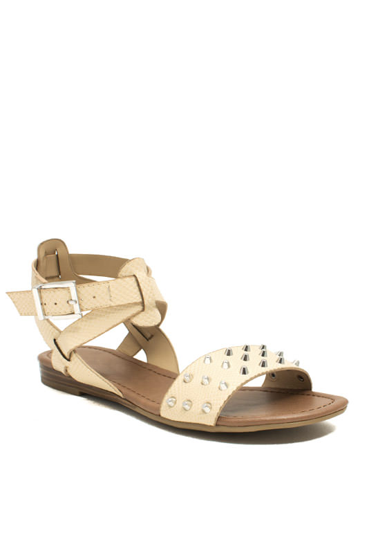 Hey Stud Strappy Textured Sandals NUDE
