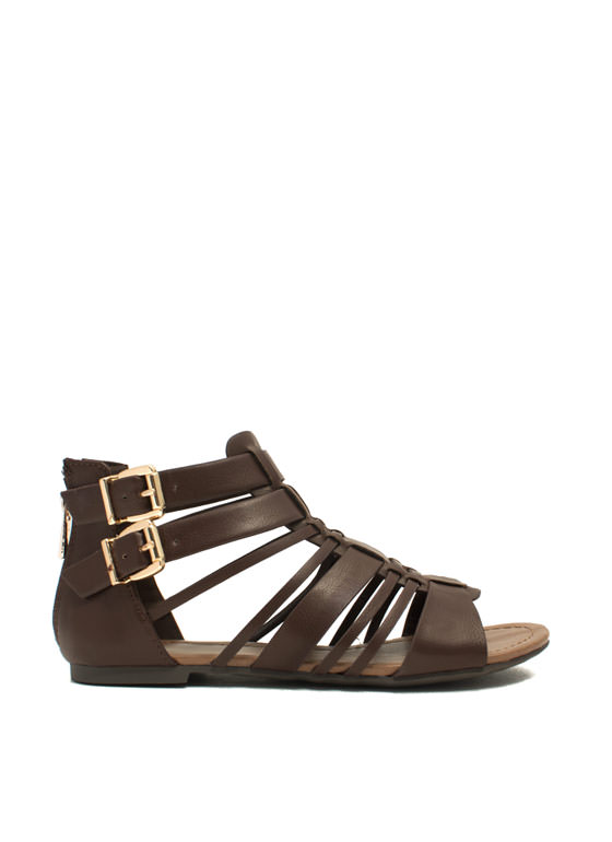 What's Strappening Buckled Sandals BROWN