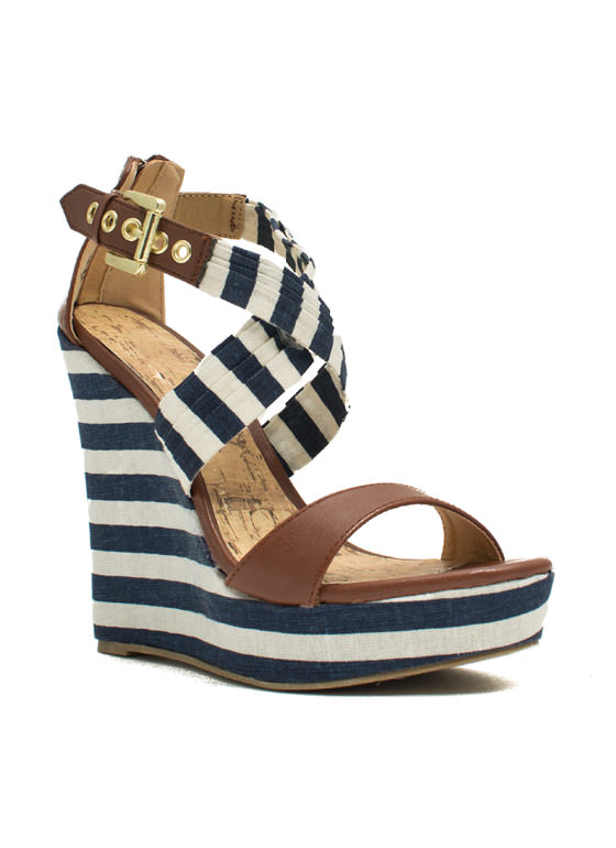 Stripe A Pose Mixed Media Wedges BLUE