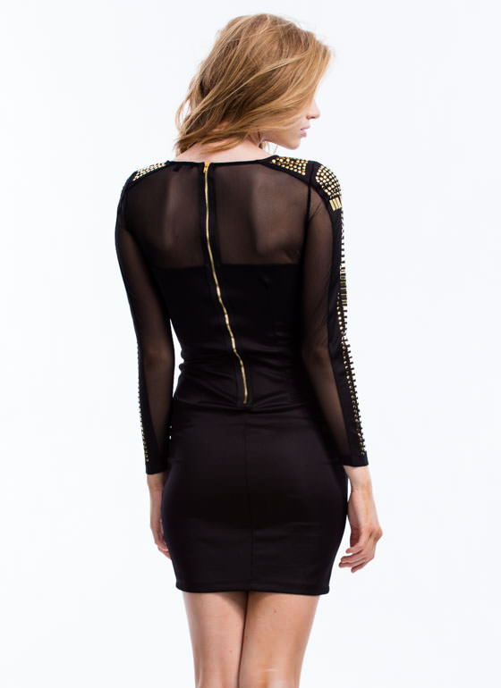 Next Level Studded Bodycon Dress BLACK