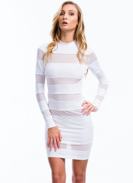 Striped In Mesh Bodycon Dress WHITE