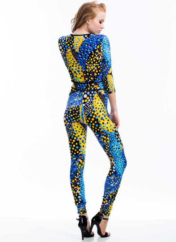 Sphere No Evil Polka Dot Jumpsuit BLUE