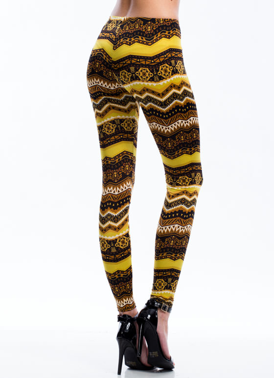 Tribal Island Print Leggings BROWN