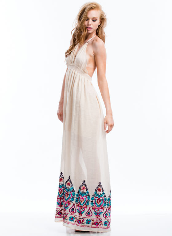 Boho Queen Embroidered Maxi Dress NATURAL