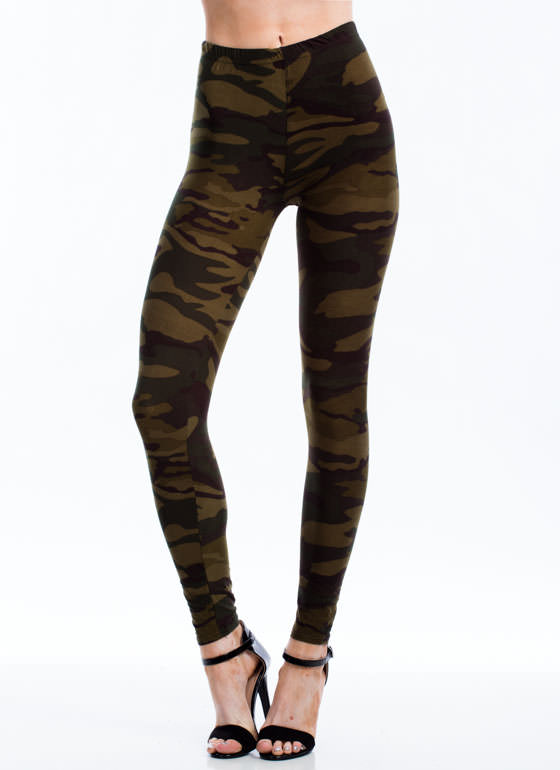 Camo Print Leggings GREEN