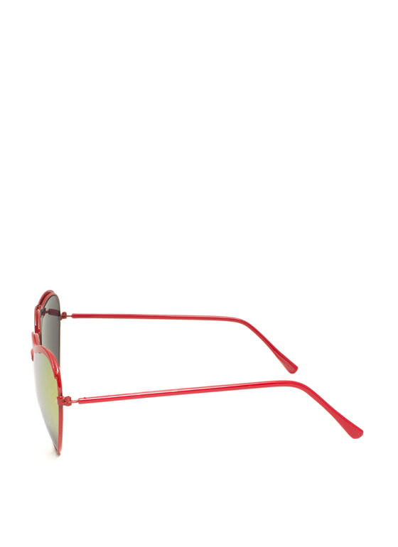 Heart-Shaped Wire Frame Sunglasses REDORANGE