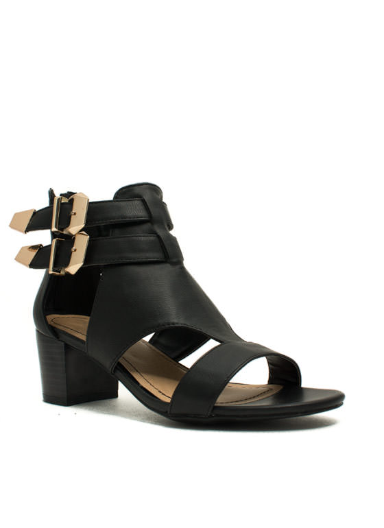 Double Up Cut-Out Heels BLACK