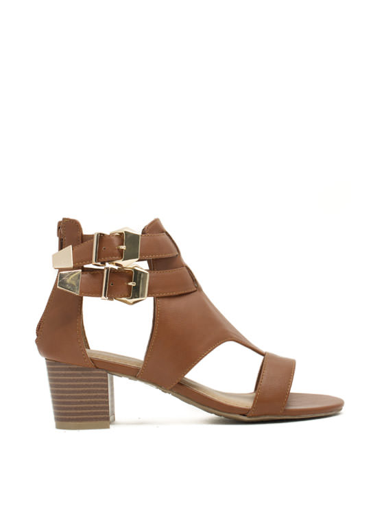 Double Up Cut-Out Heels CHESTNUT