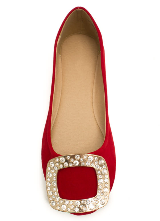 Buckled Ballerina Rhinestone Flats RED