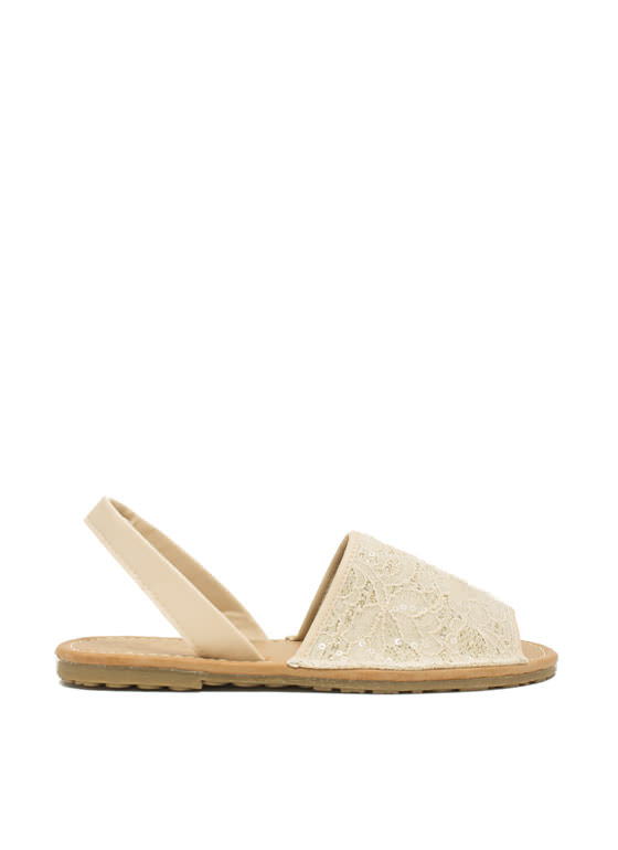Faux Leather N Sparkle Slingback Sandals BEIGE