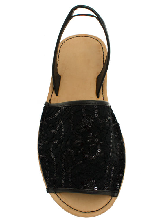 Faux Leather N Sparkle Slingback Sandals BLACK