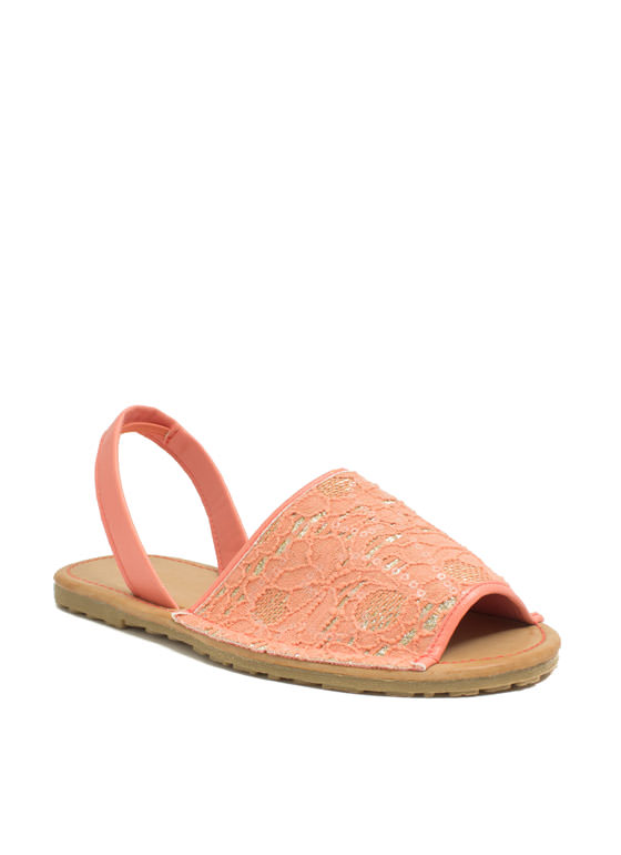 Faux Leather N Sparkle Slingback Sandals MELON