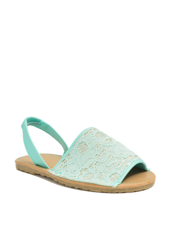 Faux Leather N Sparkle Slingback Sandals MINT