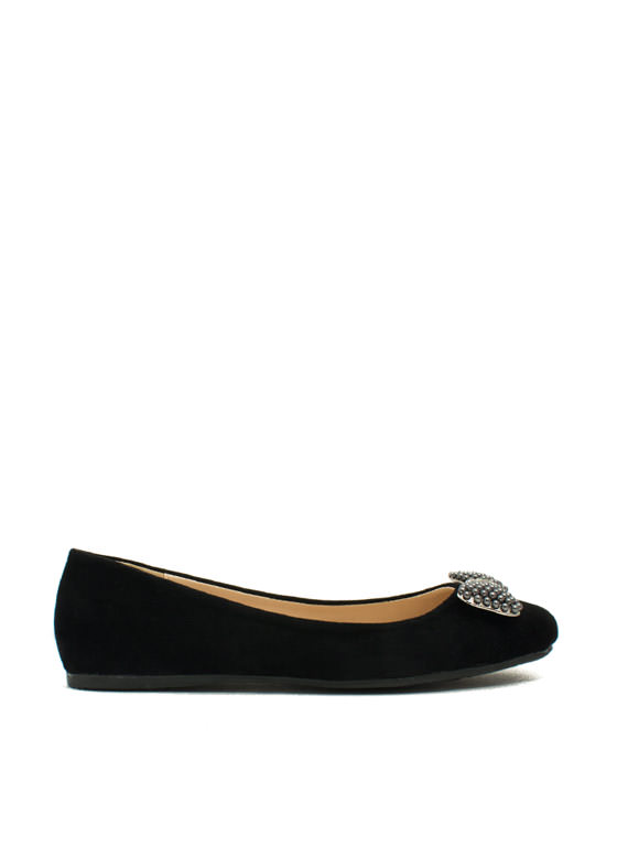 Go With The Bow Velvet Flats BLACK