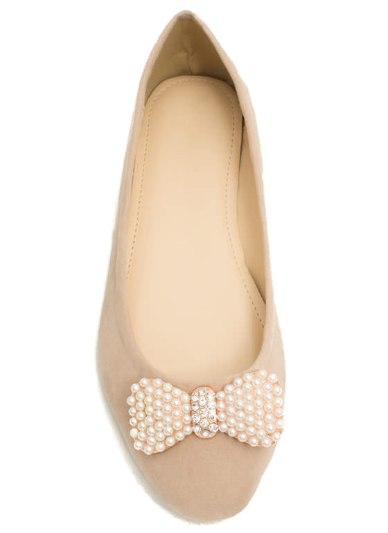 Go With The Bow Velvet Flats NUDE