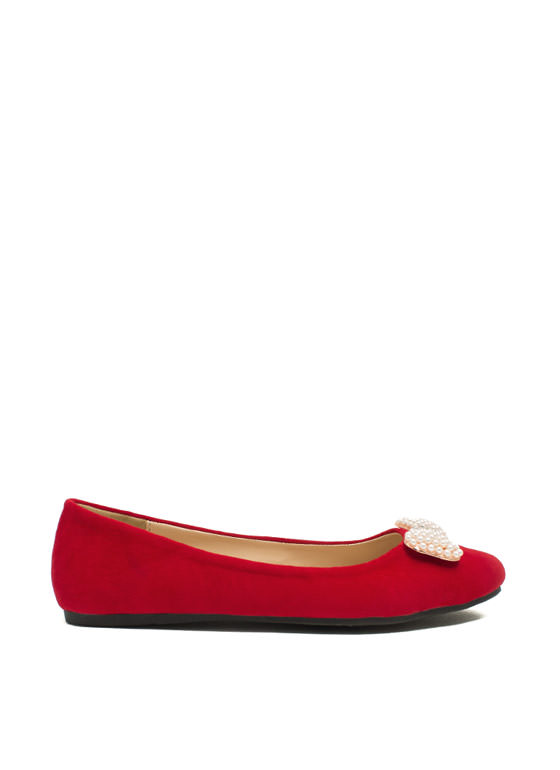 Go With The Bow Velvet Flats RED