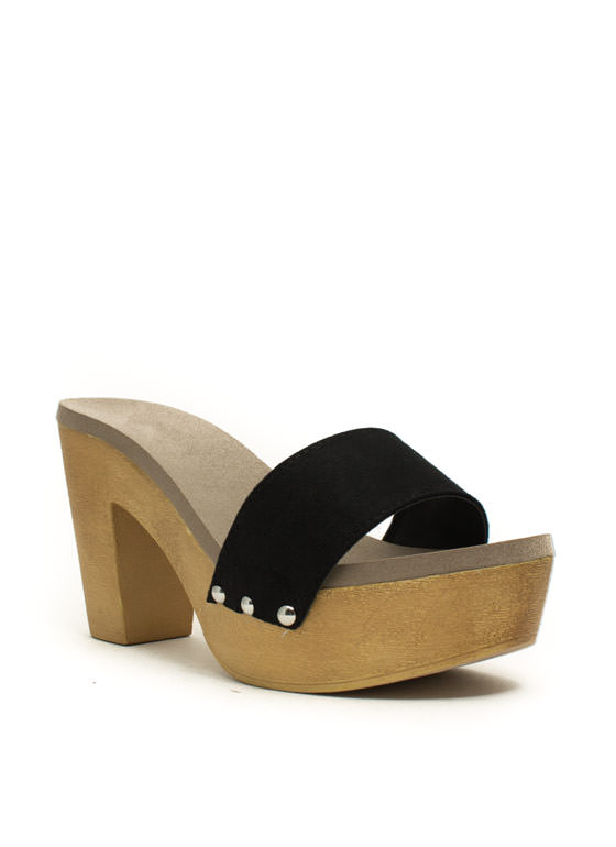 Wooden U Like 2 Know Slide Heels BLACK