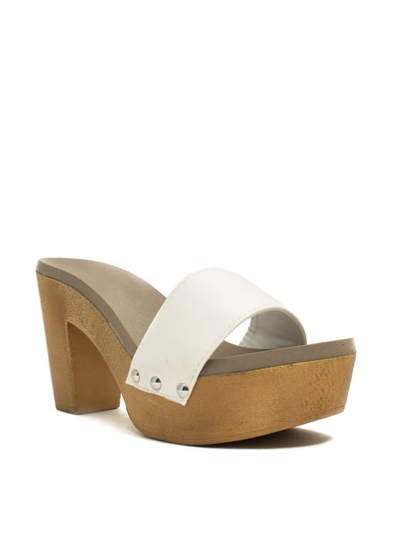 Wooden U Like 2 Know Slide Heels WHITE