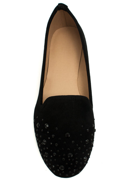 Glitzy Life Smoking Flats BLACK