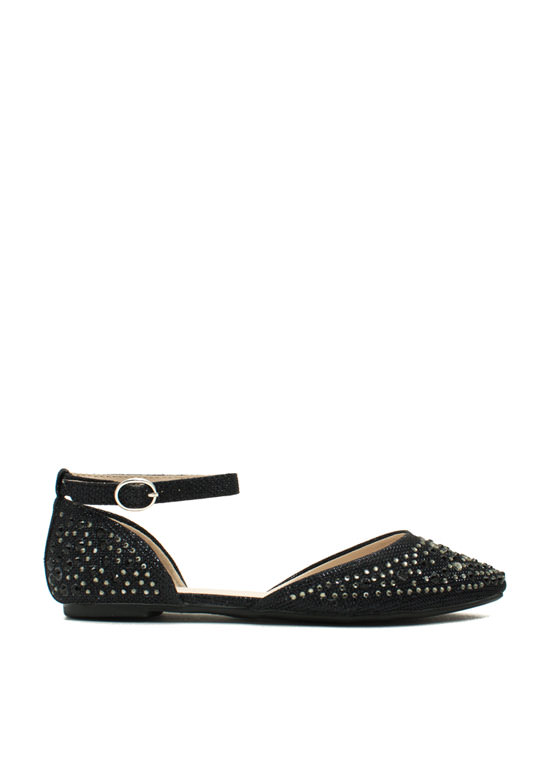 Flashy Lights Embellished Flats BLACK