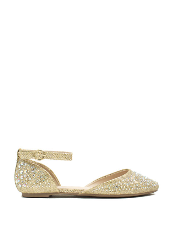Flashy Lights Embellished Flats GOLD