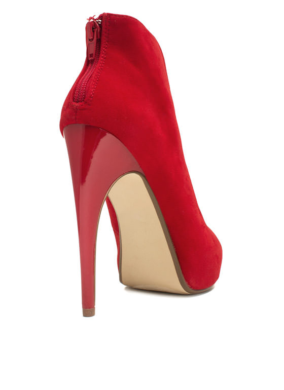 Straptastic Stiletto Bootie Heels RED