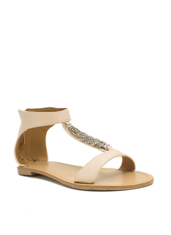 Braid Runner Jeweled Twist Sandals NUDE