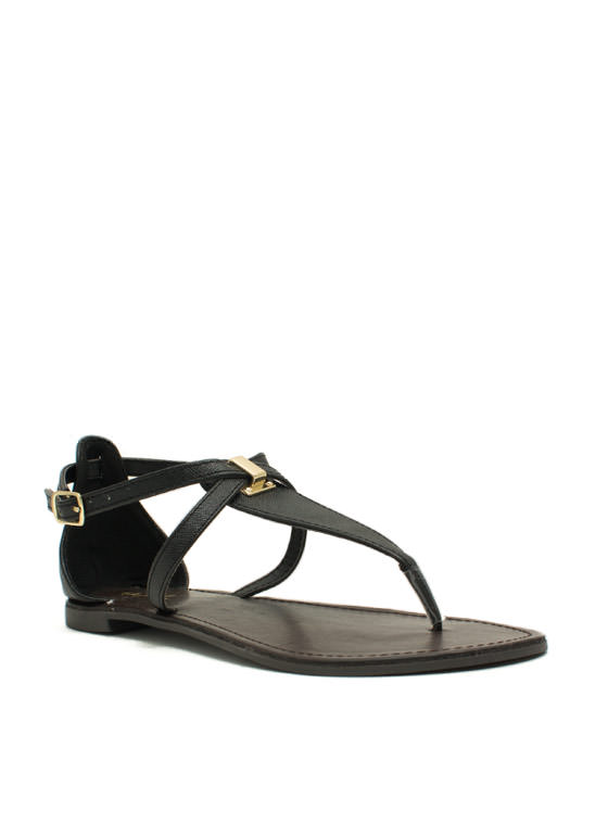 Hold Your Tongue Strappy Sandals BLACK