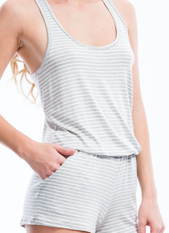 Go On Stripe Racerback Romper HGREY