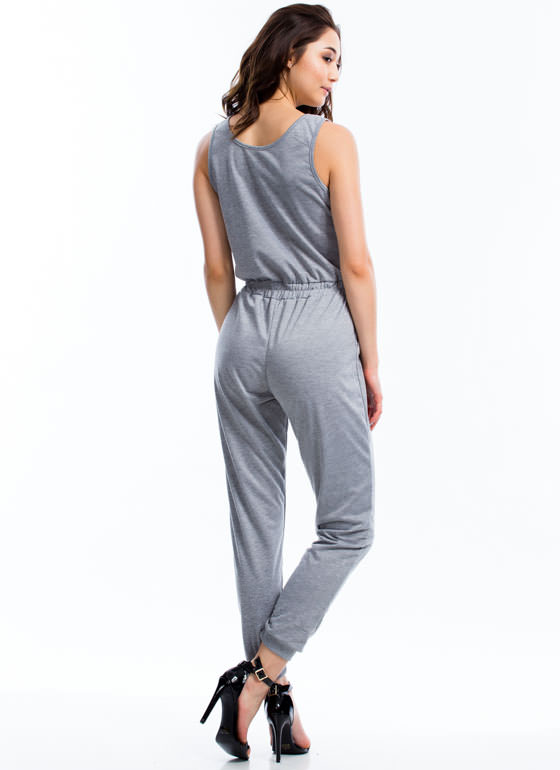French Terry Drawstring Jumpsuit HGREY