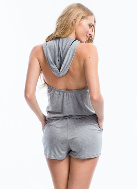 Look Under The Hood Halter Romper HGREY