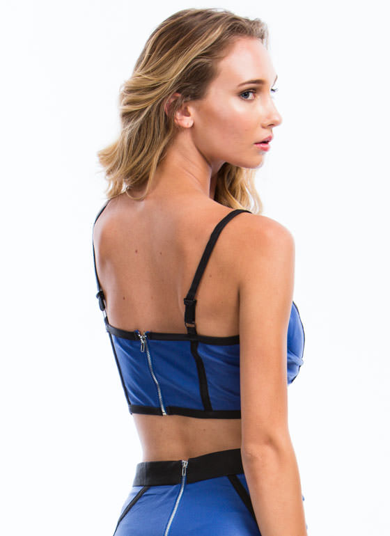 Best Revenge Piped Bustier Cropped Tank ROYAL